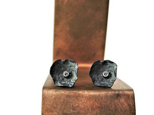 Black Petal Post Earrings by Mysterium