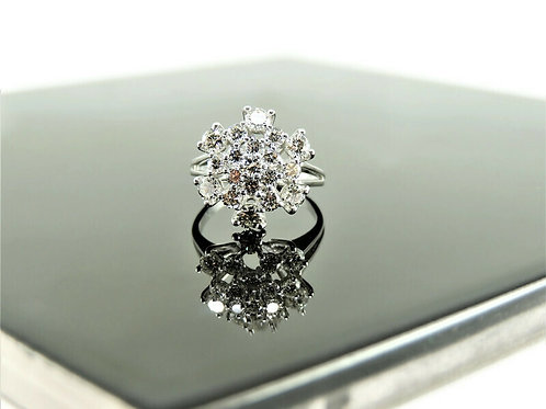 White Gold and Diamonds Round Cluster Ring