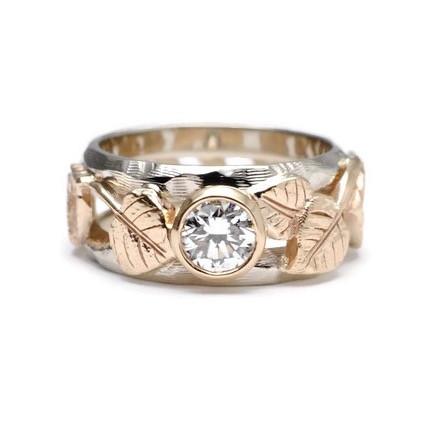Heirloom diamond aspen leaf ring