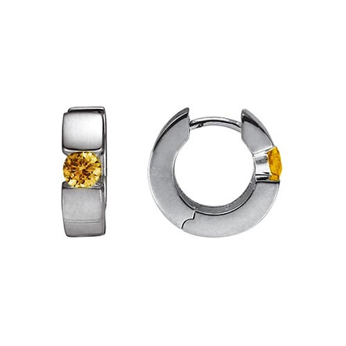 Citrine Hinged Hoop Earrings