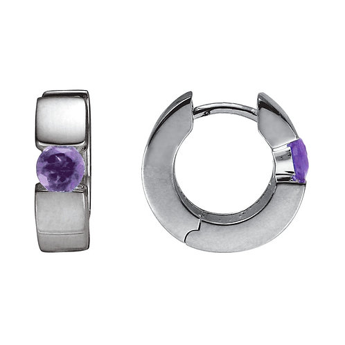 Amethyst Hinged Hoop Earrings