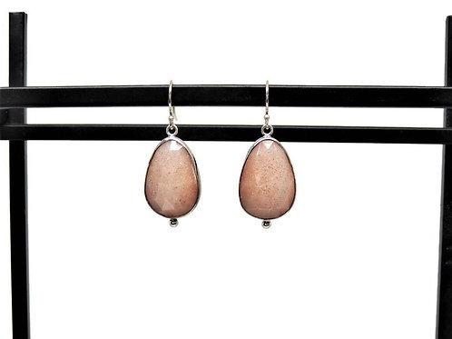 Peach Moonstone Earrings by Linda Blumel
