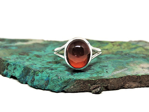 Oval Red-Orange Carnelian Ring