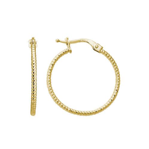 Diamond Cut Rope Hoop Earrings