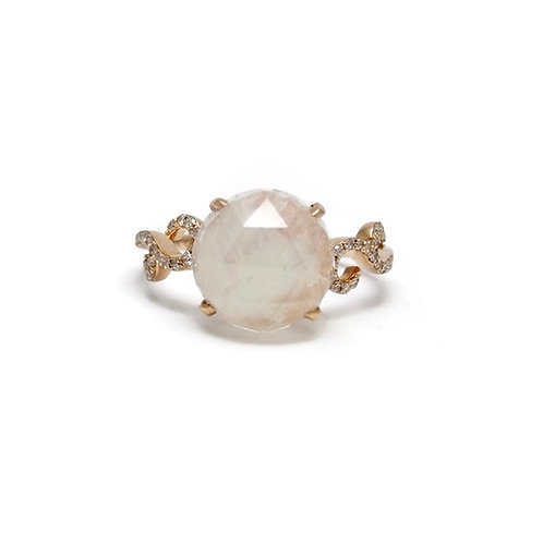 Rainbow Moonstone Rose Gold Ring