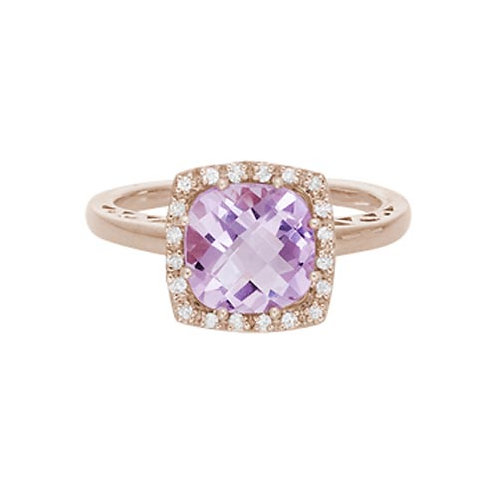 Pink Amethyst Ring with Diamond Halo