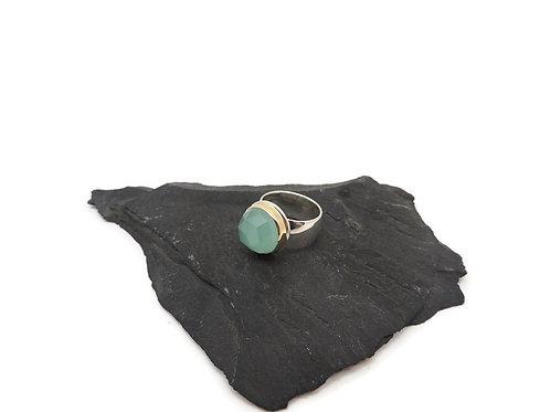 Rose Cut Aqua Chalcedony Ring