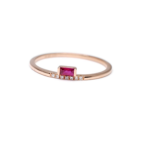 Offset Baguette Ruby and Diamond Ring