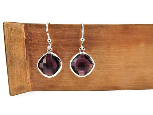 Cushion Cut Amethyst Earrings by Stephen Estelle