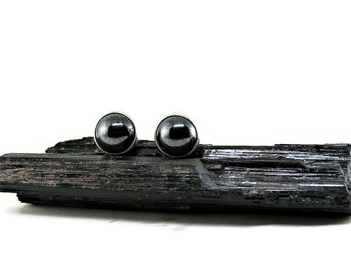 Round Hematite Stud Earrings by Linda Blumel