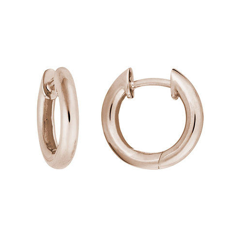 Rose Gold Rounded Hinged Hoop Earrings