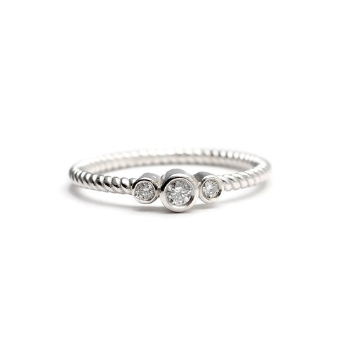 Three Stone Diamond Ring with Twisted Band in 14k White Gold