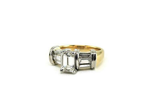 Gold, Platinum, & Emerald Cut Diamond Ring