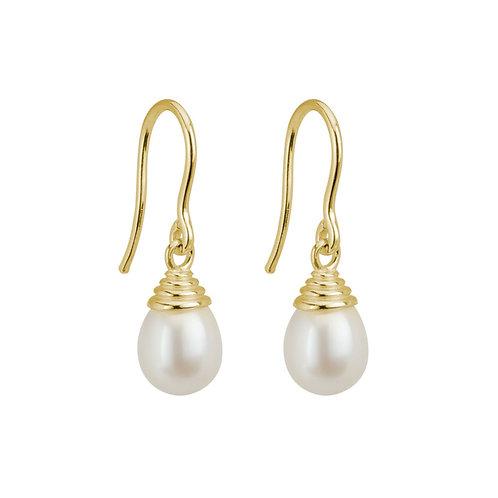 Yellow Gold Pearl Ridged Earrings