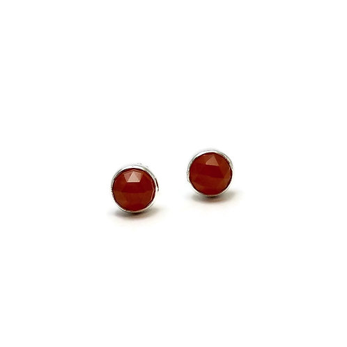 Rose Cut Carnelian Earrings by Linda Blumel