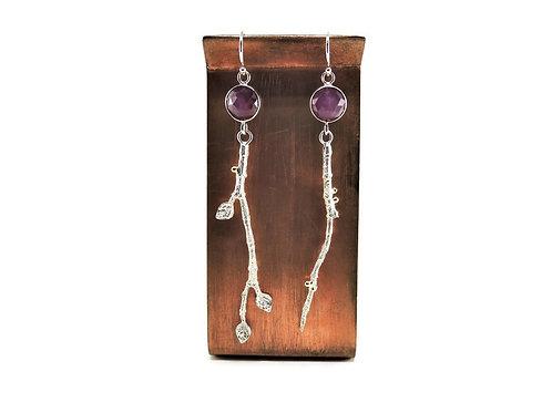 Pink Sapphire Branch Earrings by Linda Blumel
