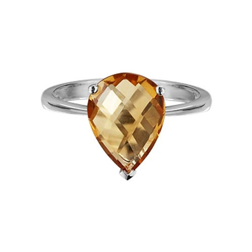 Pear Shaped Checkerboard Citrine Ring