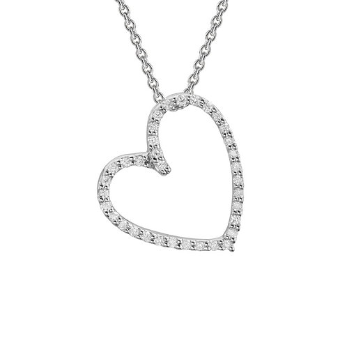 Angled Diamond Heart Necklace