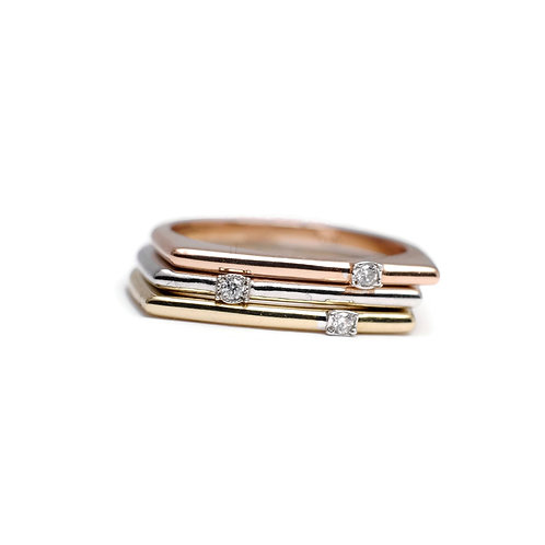 Three Tone Stacking Ring with Diamonds