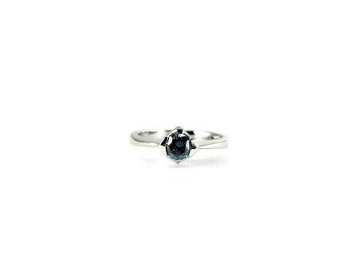 14k White Gold & Blue Diamond Ring