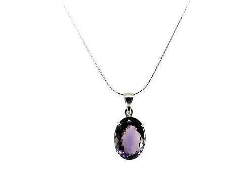 Oval Faceted Amethyst Pendant
