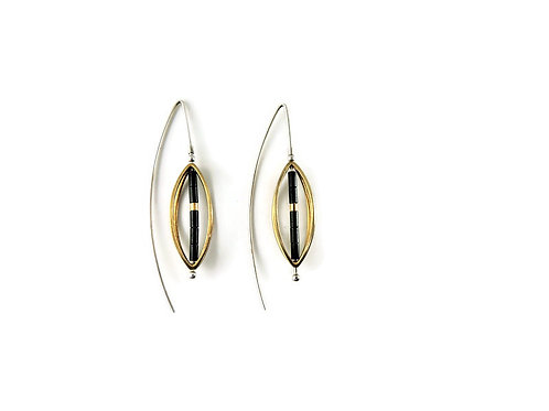 Marquise Threader Earring with Hematite Bead by Mysterium