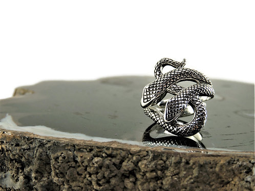 Sterling Silver Two-Headed Snake Ring