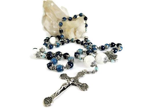 Agate, Quartz, & Sterling Silver Rosary by Elizabeth Brummel