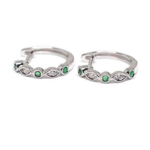 Emerald and Diamond Hinged Hoop Earrings