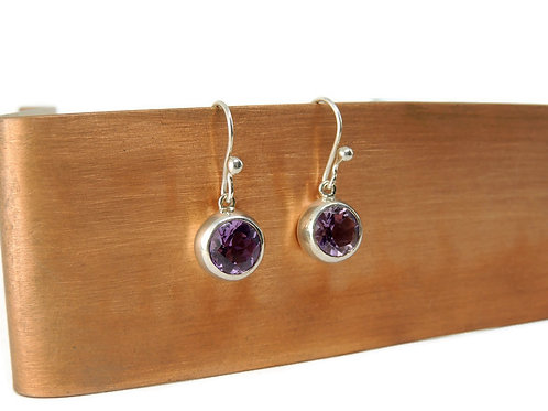 Round Amethyst Drop Earrings by Stephen Estelle