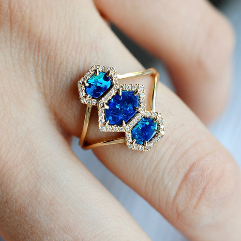 Created Blue Opal Triple Hexagon Ring