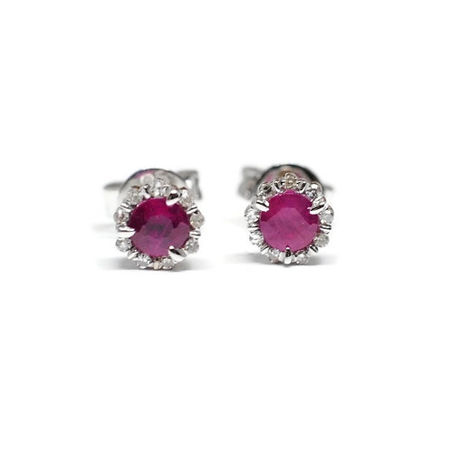 Ruby with Diamond Halo Stud Earrings