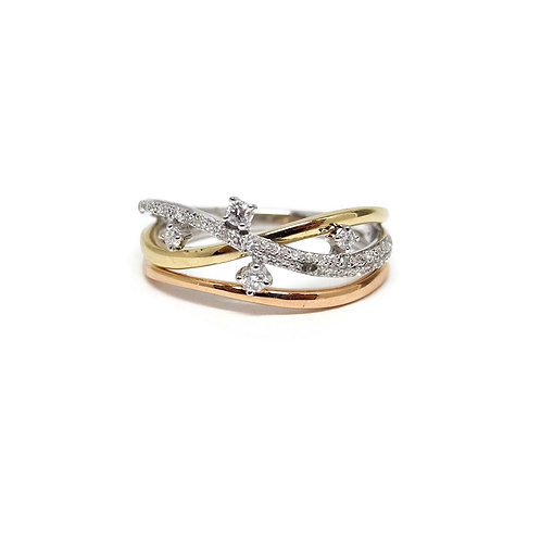 Three Tone Wave Ring with Diamonds