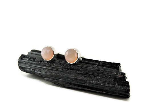 Pink Chalcedony Stud Earrings by Linda Blumel