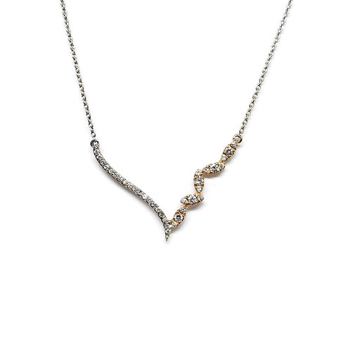Two Tone Contoured 'V' Necklace