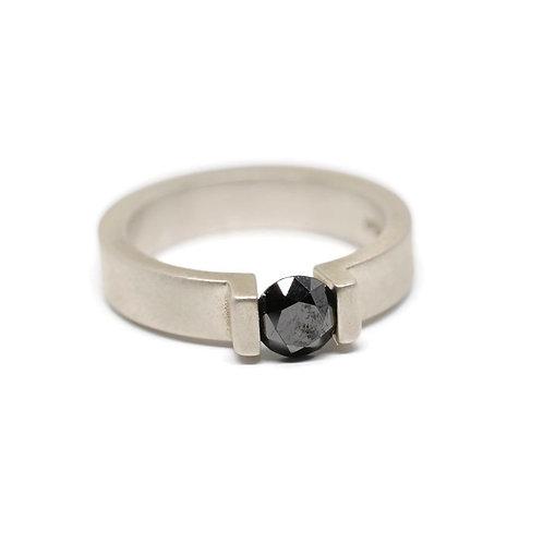 Black Diamond Tension Set Ring in Sterling Silver