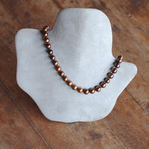 Burgundy and Copper Freshwater Pearl Necklace
