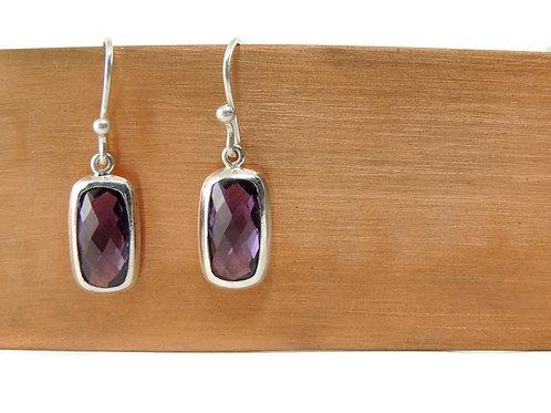 Rectangle Amethyst Drop Earrings by Stephen Estelle