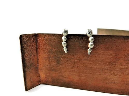 Silver Satin Bubble Earrings