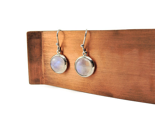 Round Moonstone Earrings by Stephen Estelle