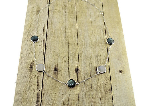 Five Piece Moonstone and Labradorite Necklace by Stephen Estelle