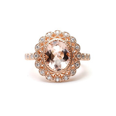 Morganite engagement ring with halo