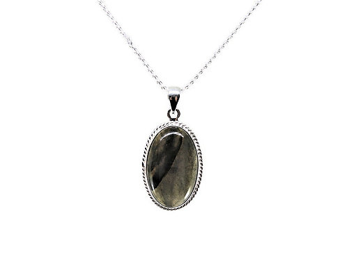 Sterling Silver and Oval Labradorite Pendant