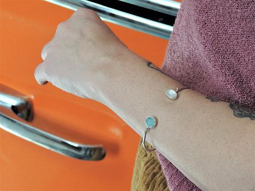 Aquamarine and Rainbow Moonstone Cuff Bracelet
