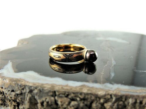 Black Pearl Mokume Ring by Michael Daniels