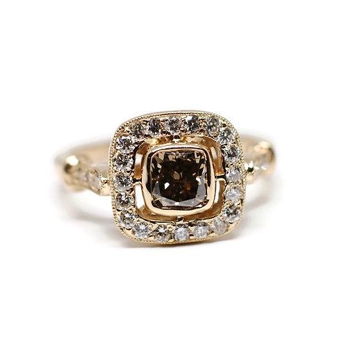 One of a Kind Cushion Cut Champagne Diamond Ring