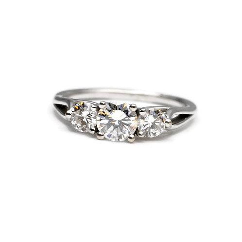 Classic Moissanite Three Stone Engagement Ring