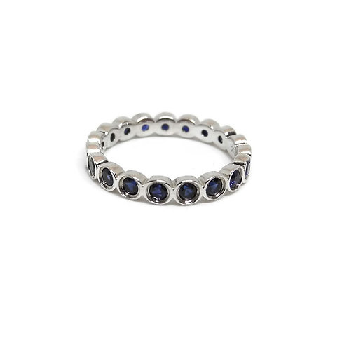 Sterling Silver Created Sapphire Eternity Band