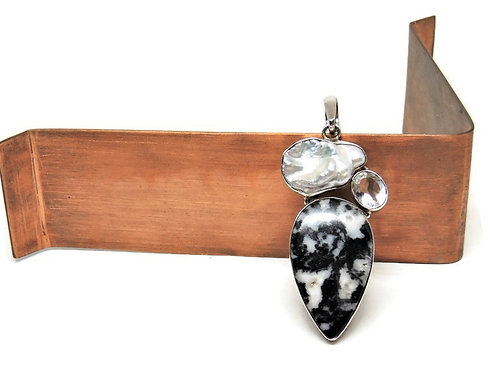 Pearl, Quartz,and Black and White Stone Pendant
