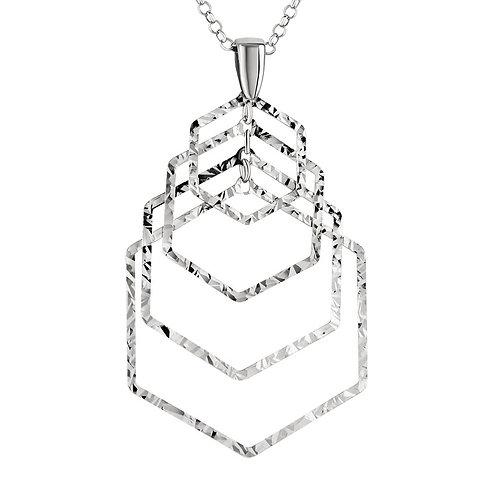 Sparkling Open Hexagon Pendant